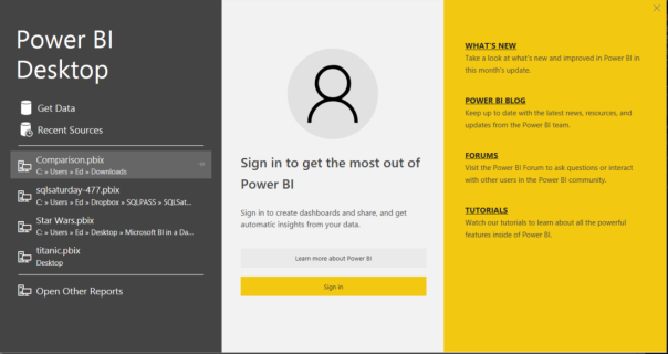 Power BI Opening Screen